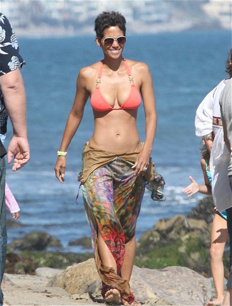 Halle hit the beach in Malibu wearing a sexy bikini on her 45th birthday in 2011.