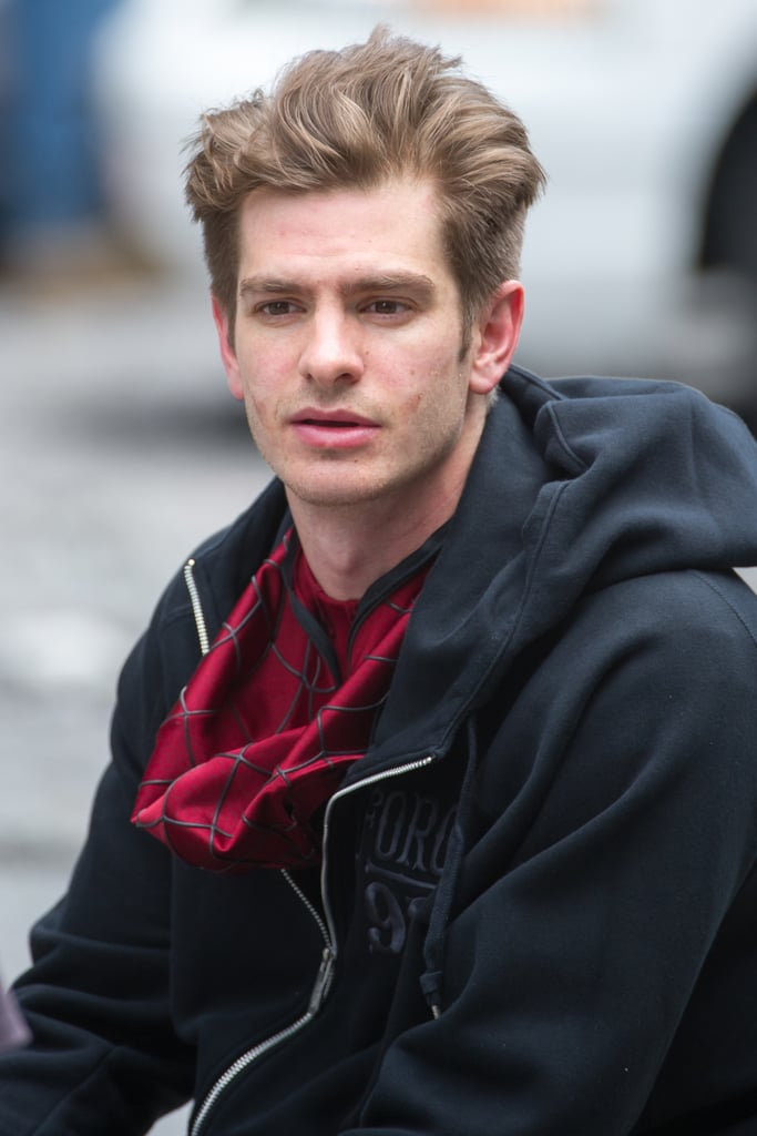 Andrew Garfield and Little Boy on Set of Spider-Man 2