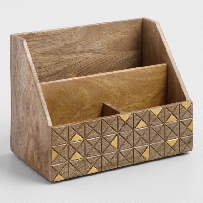 Wood and Brass Jordan Desk Organiser