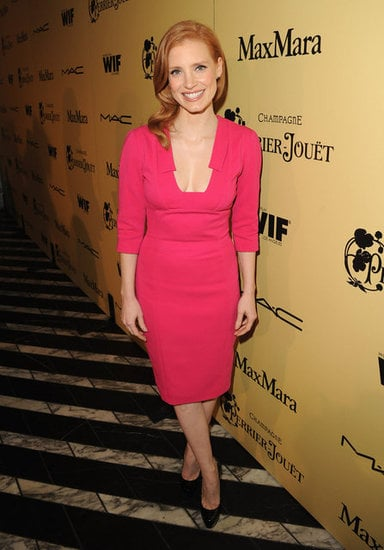 Jessica Chastain's pink Elie Saab cocktail dress is spot on — it looks great with her red hair — although we think nude pumps would have been a better accessory choice.