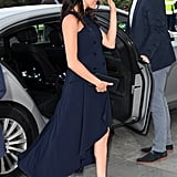 Meghan has worn this navy blue Antonio Berardi number twice!