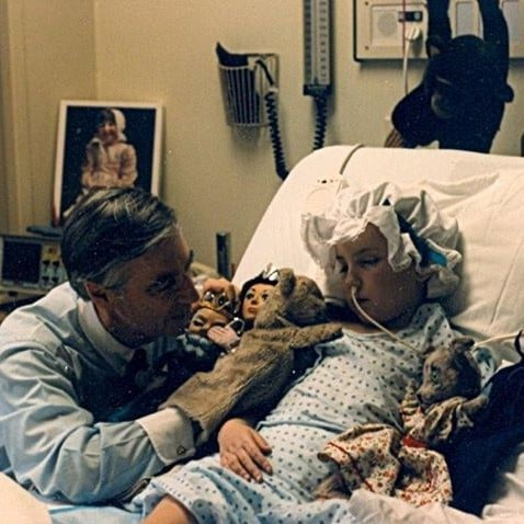 Mister Rogers Visiting a Young Fan in the Hospital