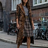 Style Your Striped Shirt With a Plaid Skirt and Leopard-Print Coat