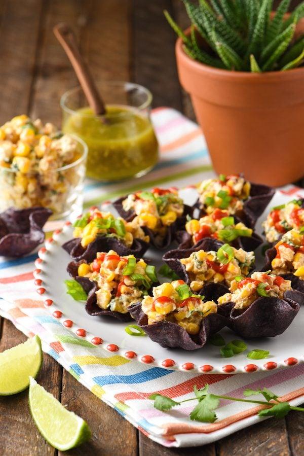Salsa Verde Elote Bites