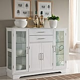 Kings Brand Furniture VD-60366HW Kitchen Storage Cabinet Buffet With Glass Doors