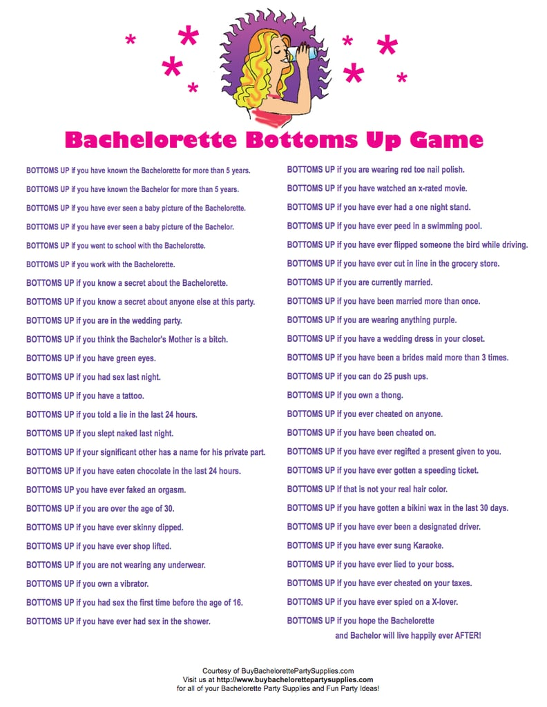 Bottoms Up Game | Free Bachelorette Party Printables | POPSUGAR ...