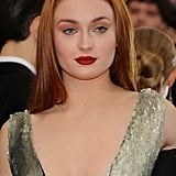 Sophie Turner's Straight Centre Part Hair and Red Lip, 2015
