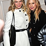 Rachel Zoe and Molly Sims stayed warm in coats at the Piperlime Piping Hot Lounge.