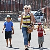 Gwen Stefani, Kingston Rossdale, and Zuma Rossdale made their way to the beach.