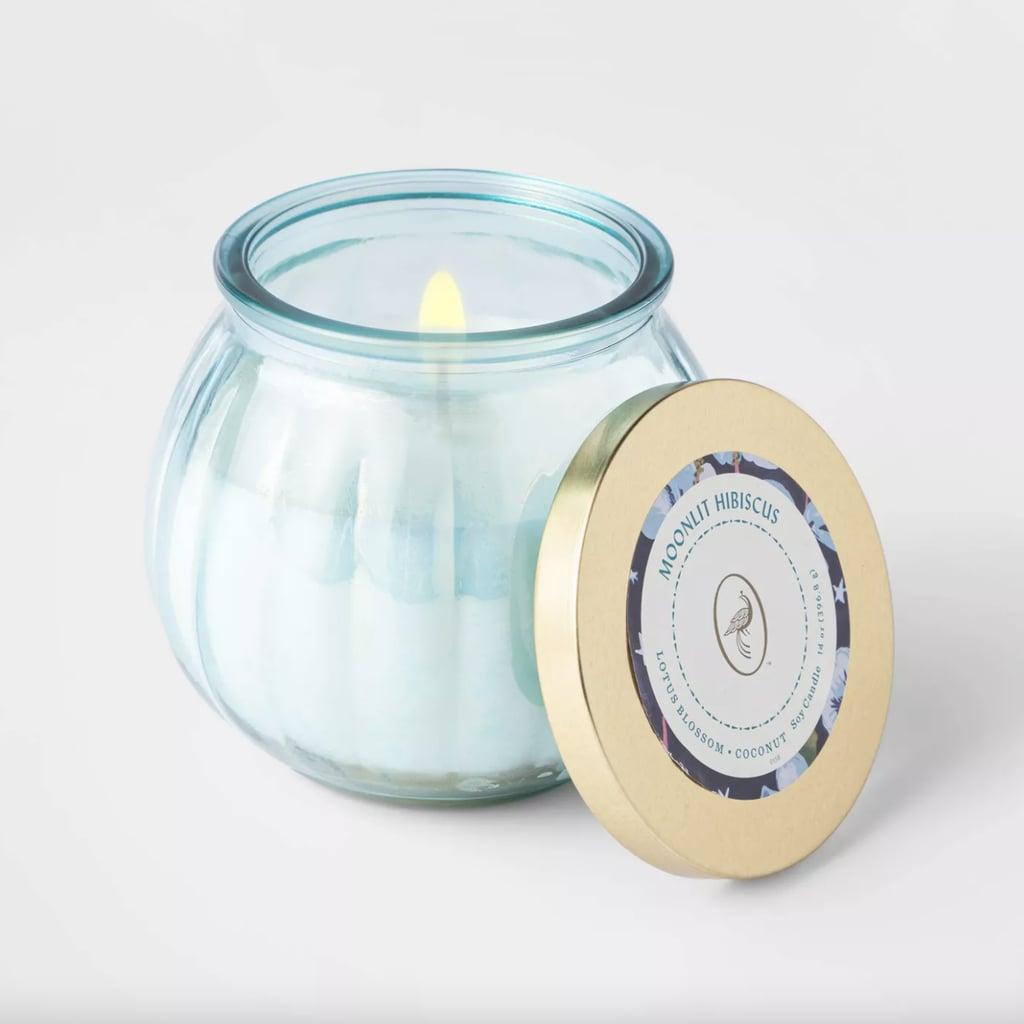 Mandarin Hibiscus Lidded Blue Depression Glass Jar Candle