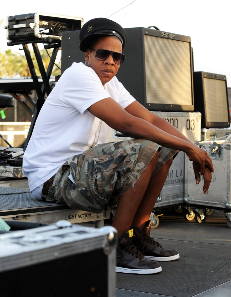 Jay Z hung out backstage in 2010.