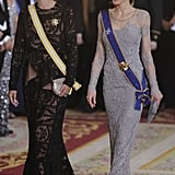 In March, Queen Letizia made a gorgeous appearance at a gala dinner at the royal palace alongside Colombia's First Lady María Clemencia Rodríguez Múnera.