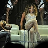 J Lo danced on stage.