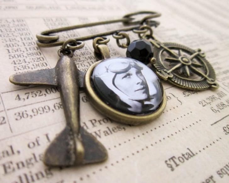 Amelia Earhart Charm Brooch
