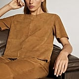Massimo Dutti Short-Sleeve Suede Top