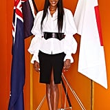 Naomi Campbell at a Japanese tea ceremony in Sydney.