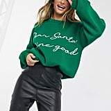 Missguided Christmas Jumper in Green