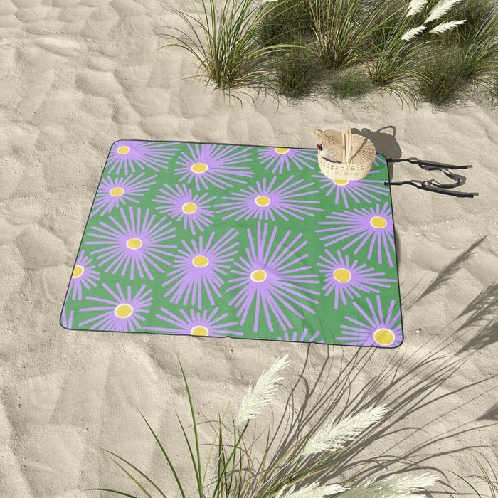 New England Asters Picnic Blanket by kathnash