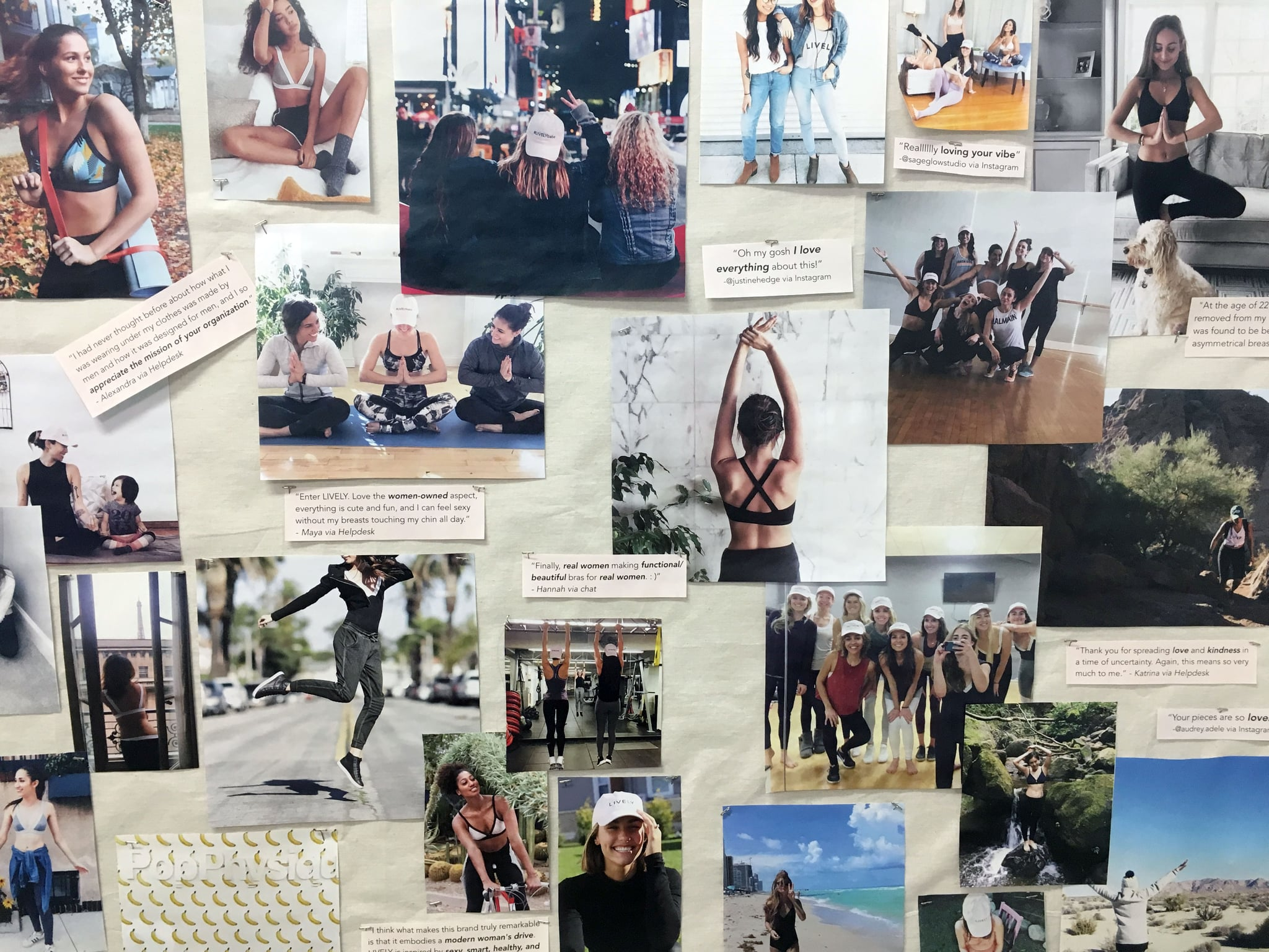 Inspiration Board in Michelle's office featuring product lifestyle shots and customer feedback
