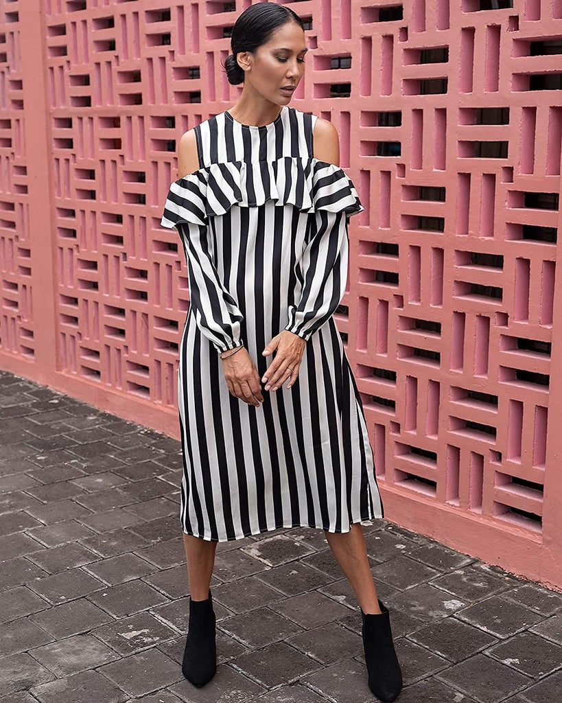 The Drop Black/White Stripe Cold-Shoulder Long-Sleeve Midi Dress by @jonnycota
