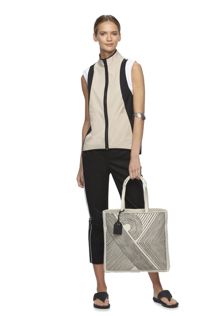 Colorblock Vest ($59), RK40 Abstract Tote ($52), Twill Cropped Pants ($40)