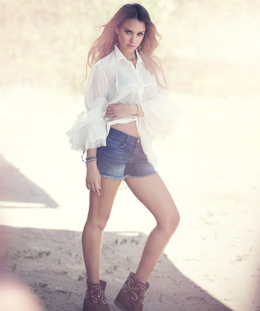 Jessica worked a country look in an Acne blouse, Frame Denim shorts, and Isabel Marant studded boots.