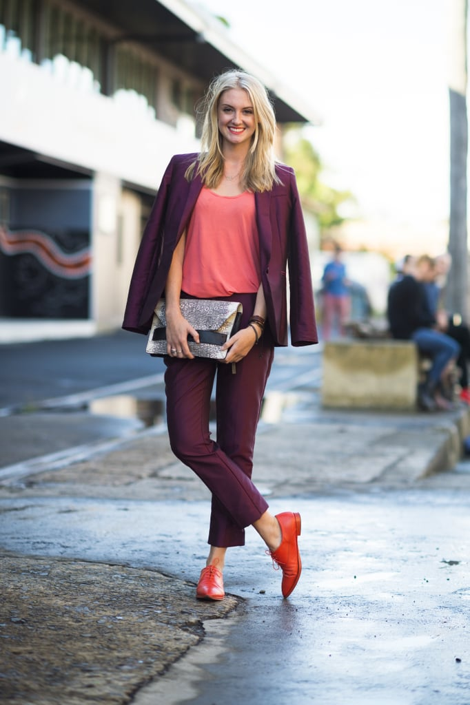 The bold color contrasts — right down to her toes — caught our eye in this look. Source: Le 21ème | Adam Katz Sinding