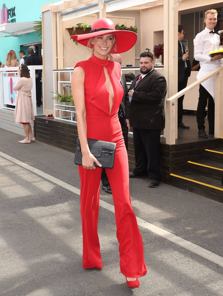 Jennifer Hawkins Wearing a Red Jumpsuit Melbourne Cup 2016