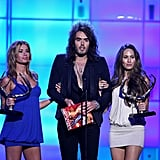 Russell Brand was joined by two women when he took the stage in 2008 at the Guys Choice Awards.