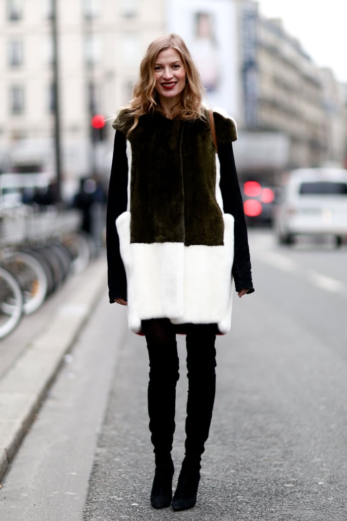 The textural intrigue and rich color contrast made this luxe coat even more striking.