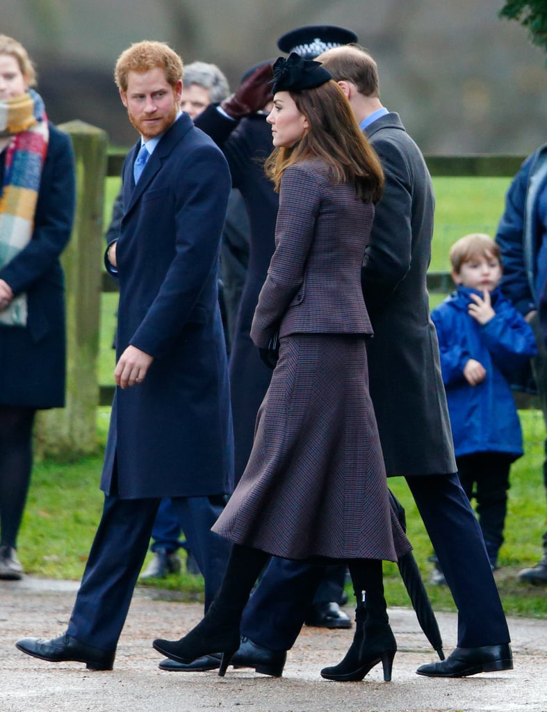 The Duchess of Cambridge Wearing a Purple Tweed Suit