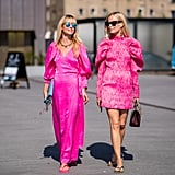 Styling Havaianas flip-flops with neon pink dresses.