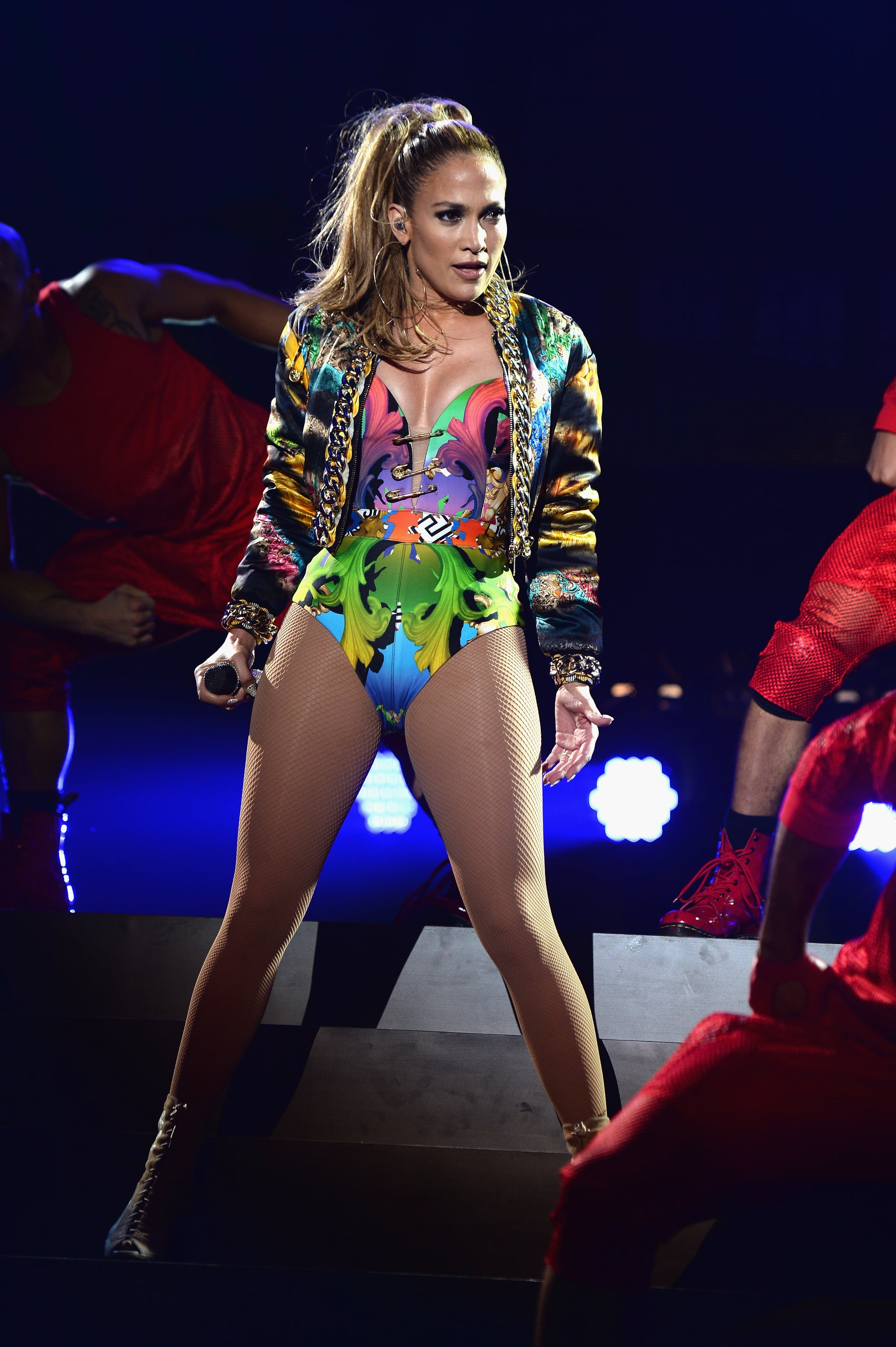 Jennifer Lopez hit the stage at the iHeartRadio Ultimate Pool Party in Miami on Saturday.