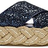 Miu Miu Blue Glitter Raffia Platform Sandals