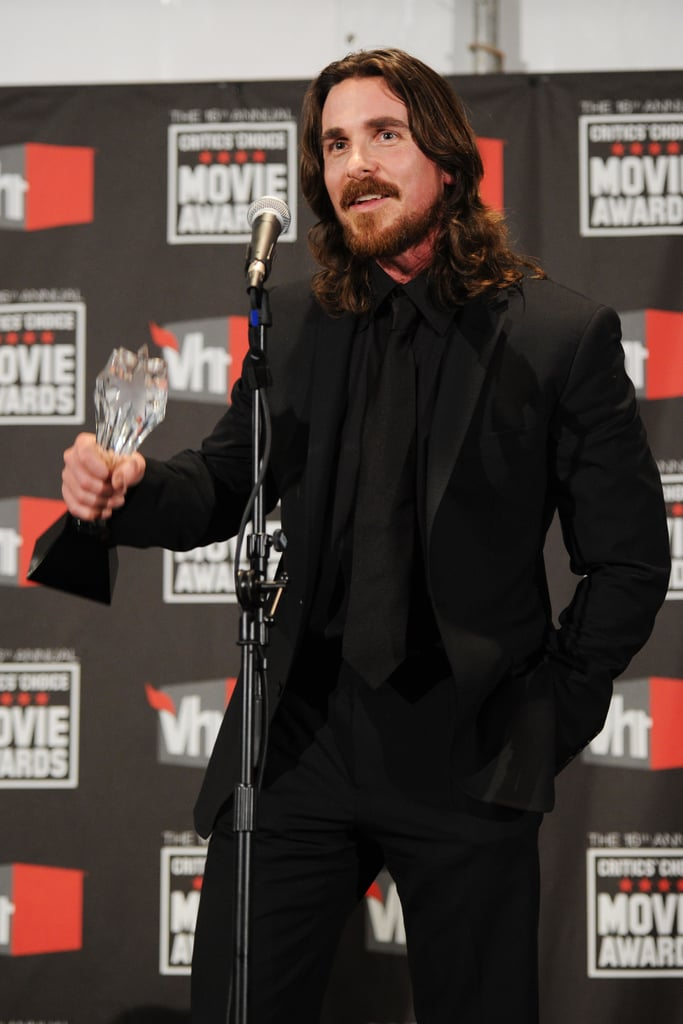 """Christian Bale was crowned best supporting actor for his role in The Fighter at yesterday evening's Critics' Choice Awards in LA, and after making a moving acceptance speech on stage, he came into the press room. He spoke about his radical transformation into Dicky Eklund, but also sweetly spoke about the importance of family and his wife Sibi Blazic. Christian said: On how he unwinds: """"Family. And there's nothing like getting on a motorcycle, it's just extraordinary . . . That's something I truly love."""" On tearing up when talking about his family during his acceptance speech: """"I know! I didn't think I was going to do that! I get choked up about that stuff. I'm an Englishman and everything —stiff upper lip. I guess I've been in the States too long!"""" On the support of his wife, Sibi: """"It's everything. I truly believe you can't celebrate something like this without having your partner with you. Making movies takes so much time, and it ain't just the time that you're filming, the character's going home from the first day of shooting. She's had to be married to so many different characters over our marriage, and some women might say, 'Hey that's great! Variety is the spice of life.' I know that it truly would be impossible to do it without her, and she's such a good strong woman. I owe everything to her."""" On the secret to a good punch: """"Everything comes from the ass!"""" On if prepping to play Dicky Eklund was like getting ready for his role in the Machinist: """"It's Dicky, man. He's unlike any other character. The physical stuff, that's just the beginning. That's just a way to get into it . . . he's something else, I love him to bits. We're good friends now.""""  Stay tuned for more from the press room and vote in all our fashion and beauty polls on Fab and Bella!"""