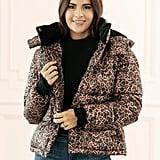 Rachel Parcell Leopard-Print Puffer Jacket