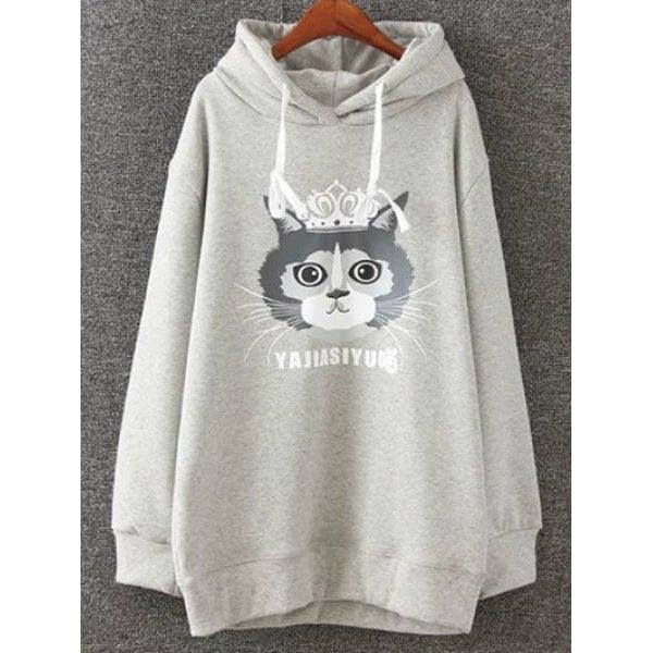 2c0e6bec829 Rosewholesale Cartoon Cat Print Fleece Hoodie