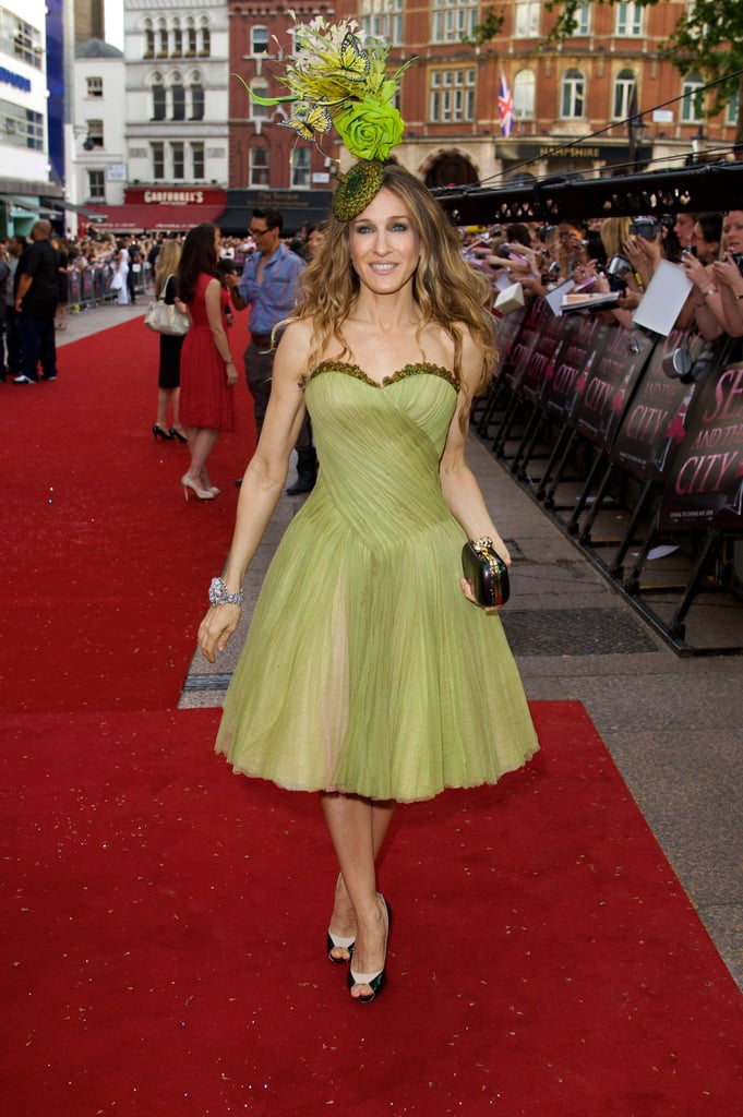 Leave it to SJP to turn up the creativity factor at the 2008 London premiere of Sex and the City: The Movie. The leading lady topped her strapless pistachio-hued party dress by Alexander McQueen with a head-turning Philip Treacy headpiece, black box clutch, and colorblock pumps.