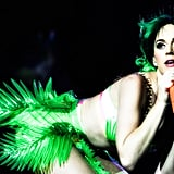 """Katy put her back into her """"Prismatic World Tour"""" performance in Belfast in May 2014."""