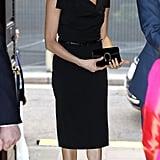Meghan Markle Wearing a Black Halo Dress