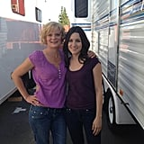 Raising Hope stars Martha Plimpton and Shannon Woodward posed between trailers. Source: Twitter user MarthaPlimpton