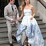 Matt Smith and Lily James in London Ahead of the Mamma Mia premiere