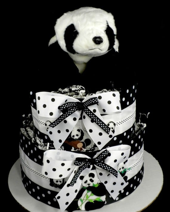 Panda Bear Centerpiece And Diaper Cake Black And White