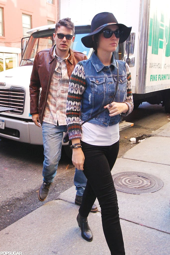 John Mayer and Katy Perry grabbed lunch at NYC's ABC Kitchen today. It was a special meal in honor of John Mayer's 35th birthday. John and Katy's romance has been on and off since they got together over the Summer, but it seems she's by his side to help him mark his big day. Katy and John hung out in the Big Apple over the weekend, too. John and Katy went out to dinner and a club Sunday, and he was reportedly spotted feeding her food off his fork during the meal at Perla.