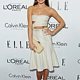 Lea Michele joined Calvin Klein in the label's midriff-baring design at the Elle Women in Hollywood event.
