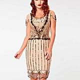 Eva Flapper Art Deco Dress In Nude Blush