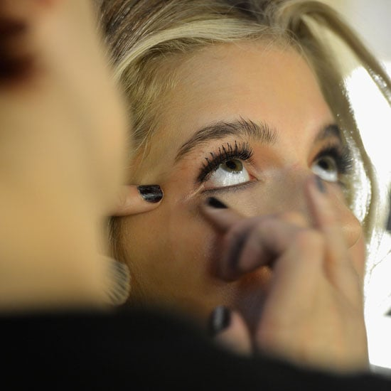 False lashes were used to add definition.