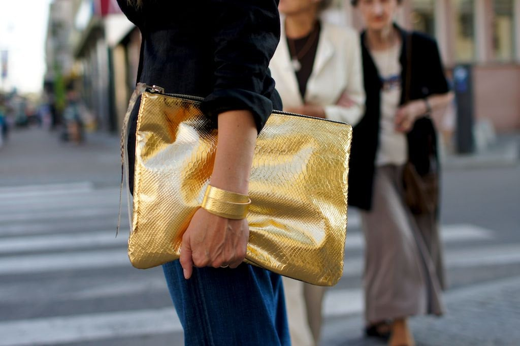 Gold Snake Zipper Clutch ($145)