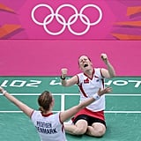Christinna Pedersen and Kamilla Rytter Juhl of Denmark couldn't believe they won their badminton match against China's team.
