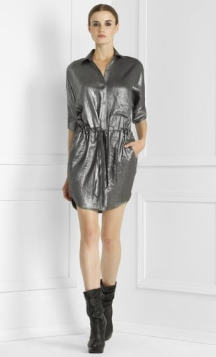 I love this BCBGMAXAZRIA Metallic Shirt Dress ($178) because I can wear it dressed up with heels or dressed down with flats.